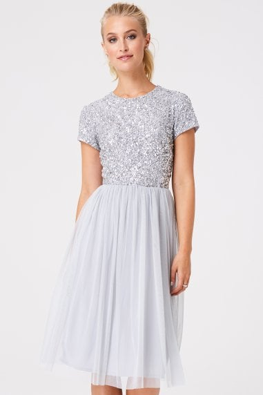 Luxury Elise Grey Hand Embellished Sequin Prom Dress