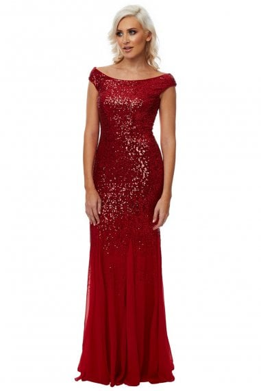 Stephanie Pratt Red Sequin Chiffon Maxi Dress
