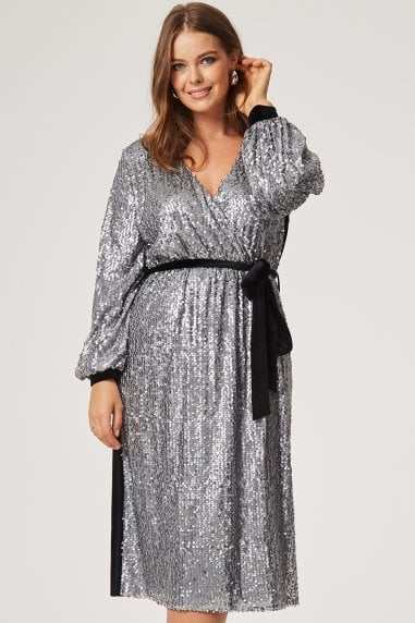Izzy Sequin Wrap Dress