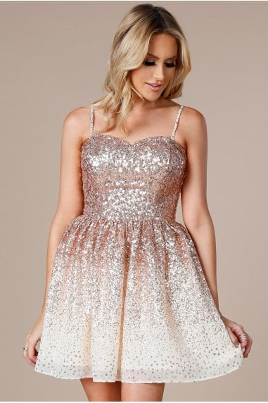 Stephanie Pratt Champagne Spaghetti-Strap Sequin Chiffon Mini Skater Dress