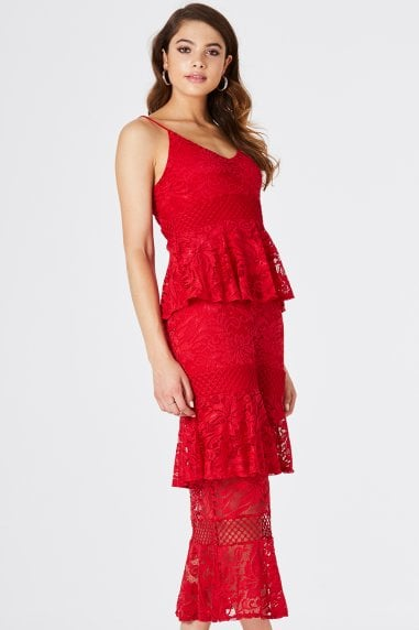Born Tiered Ruffle Midi Dress