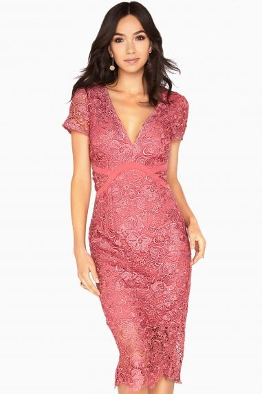 Megan Plunge Neck Crochet Pencil Dress