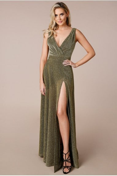 Stephanie Pratt Gold Cross-Over Sleeveless Maxi Dress