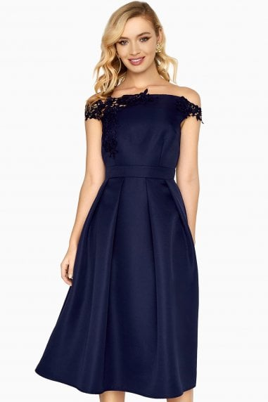 Georgia Applique Bardot Skater Dress