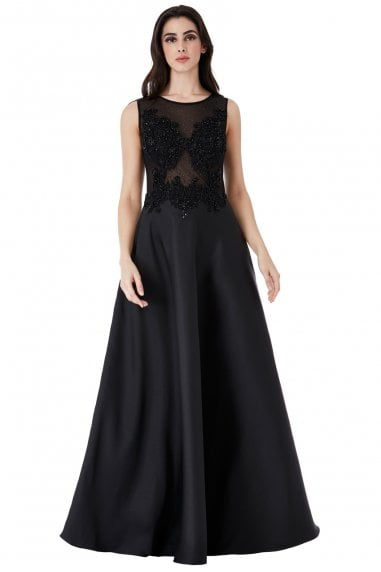 71a3e5885bcaf Hand-Embellished Mesh Maxi Dress
