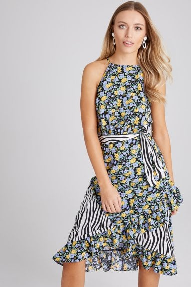 Sidney Mixed-Print Frill Midi Dress