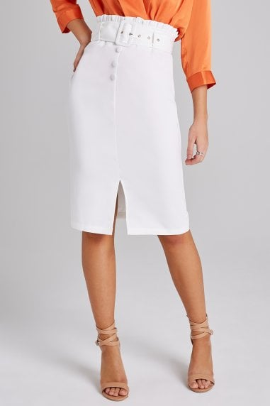 Regency White Button-Front Paperbag Skirt