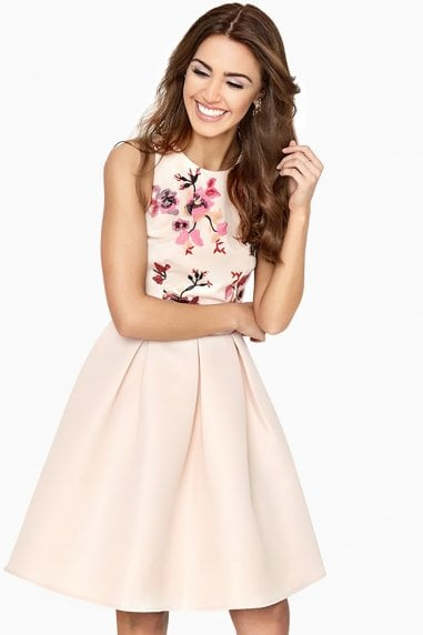 Harper Contrast Embroidered Skater Dress