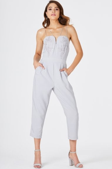 Florence Grey Embroidered Jumpsuit
