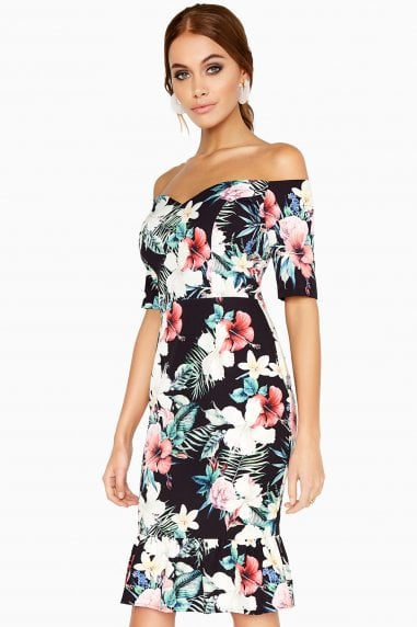 Metz Tropical-Print Peplum Dress