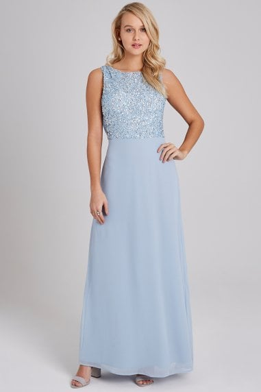 Luxury Nadine Blue Hand-Embellished Sequin Maxi Dress