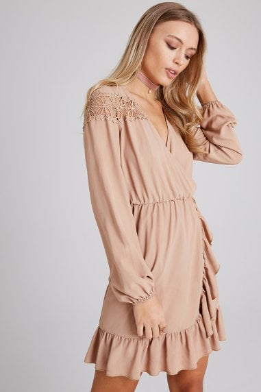 Dahlia Beige Lace And Frill Wrap Dress