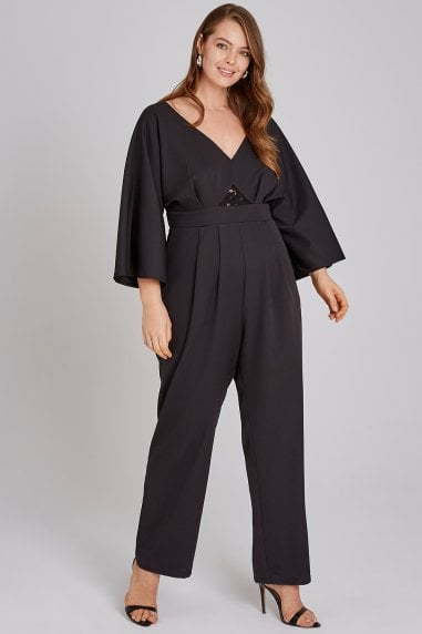 Black Lace Waist Jumpsuit