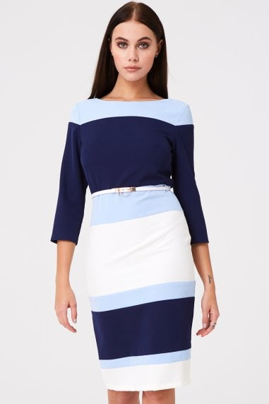 Callow Navy Blue Colour Block Dress