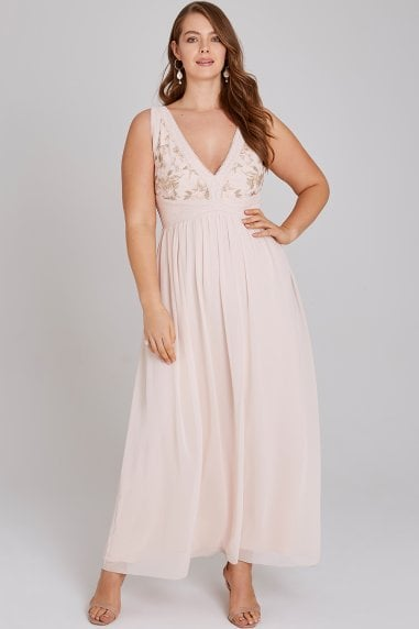 Cosette Nude Embroidery Maxi Dress