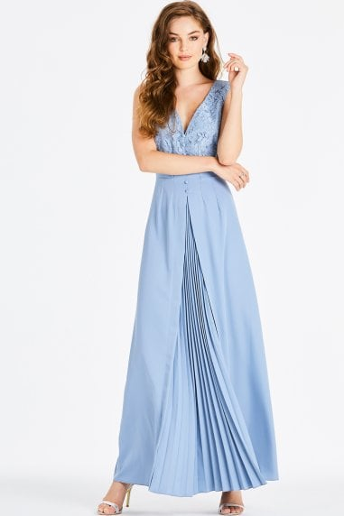 Alexina Blue Lace Plunge Maxi Dress
