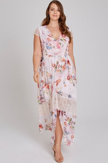 Nella Floral Maxi Dress With Lace