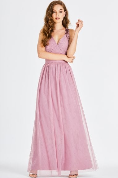 Chandra Blush Sequin Trim Maxi Dress