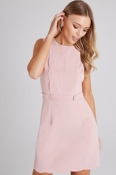 Conrad Dusty Pink Scallop Detail Shift Dress