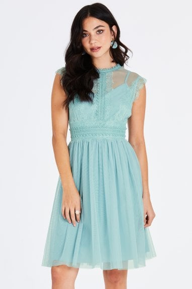 Monet Sage Lace Trim Prom Dress