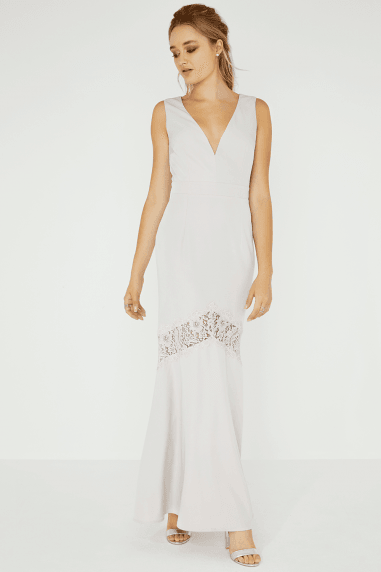 Abbie Lilac Lace Insert Plunge Maxi Dress