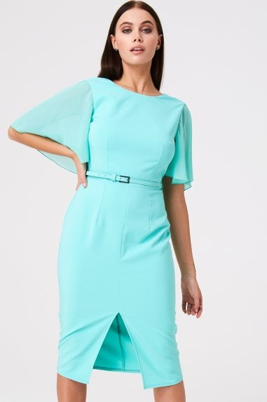 Mirabel Mint Draped Sleeve Midi Dress