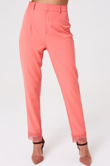 Montrose Coral Lace Trim Trousers
