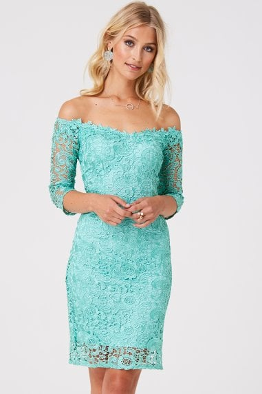 Wilton Mint Lace Bardot Dress