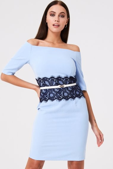Lowndes Blue Lace Waist Bardot Dress