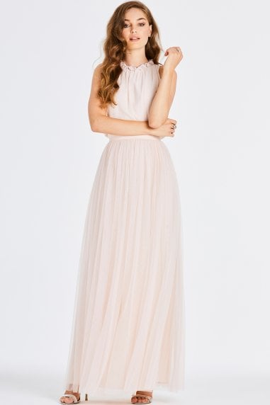 Samantha Nude Frill Maxi Dress