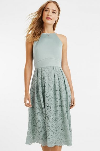 Pale Green Satin Bodice Lace Midi Dress