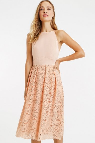 Dusty Pink Satin Bodice Lace Midi