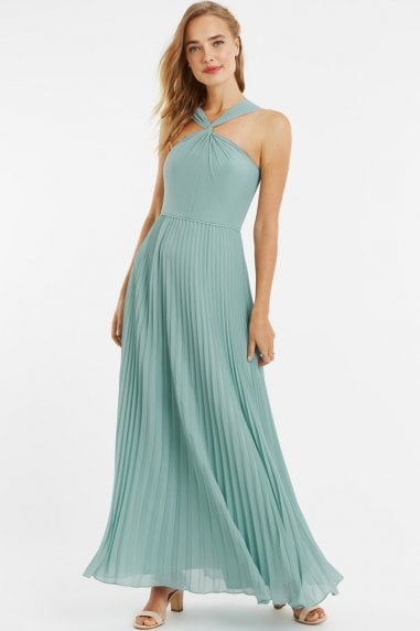 Pale Green Twist-Neck Chiffon Pleated Maxi Dress