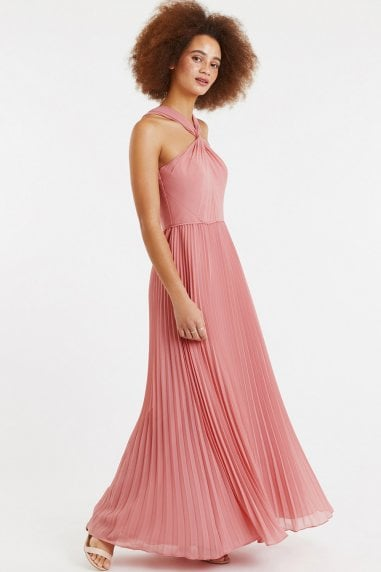 Pale Pink Twist-Neck Chiffon Pleated Maxi Dress