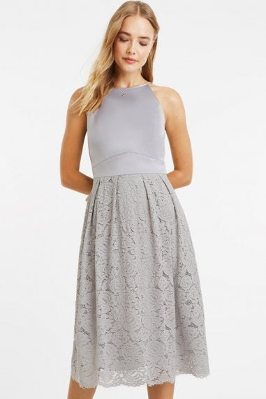 Pale Grey Satin Bodice Lace Midi Dress