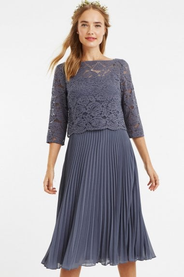 Mid Grey 3/4 Sleeve Lace Pleated Midi Dress
