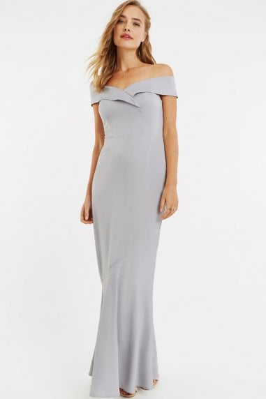 Pale Grey Bardot Slinky Maxi Dress