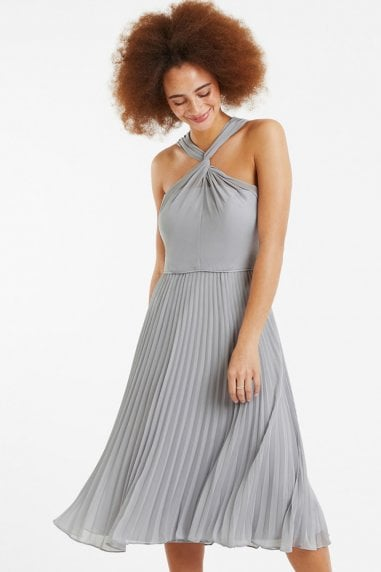 Pale Grey Twist-Neck Midi Dress