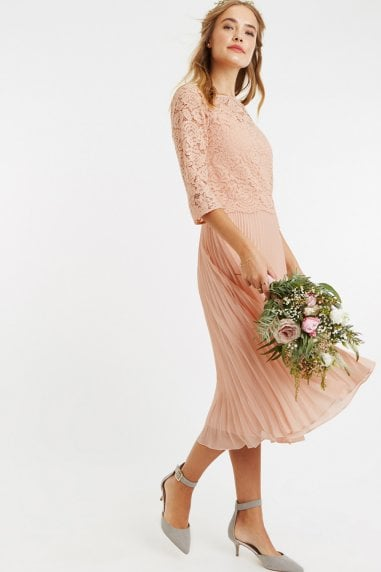 Dusty Pink Lace Top Midi Dress