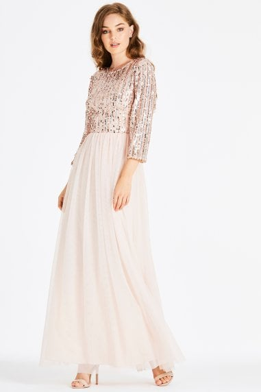 Jena Sequin Stripe Maxi Dress