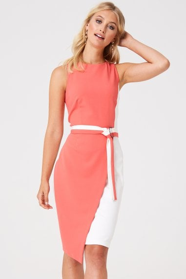Jubilee Coral Colour Block Pencil Dress