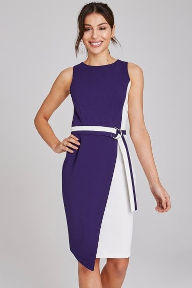 Jubilee Navy Colour Block Pencil Dress