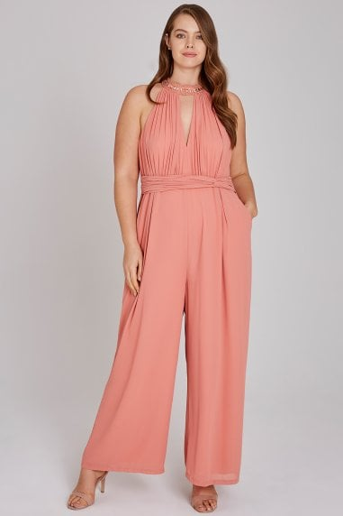 Miranda Orange Hand-Embellished Jumpsuit