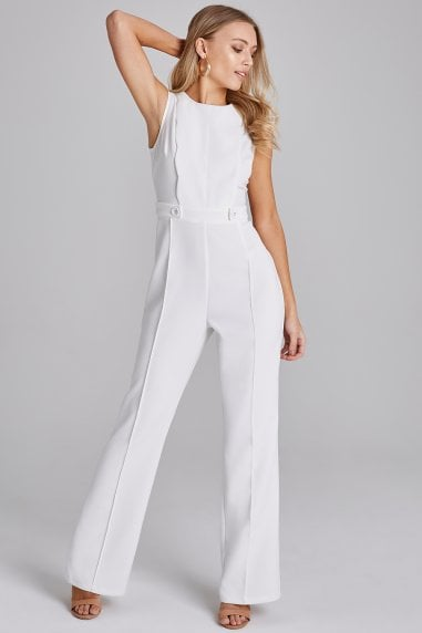 2c84a529b8 Conrad White Scallop Detail Jumpsuit ...