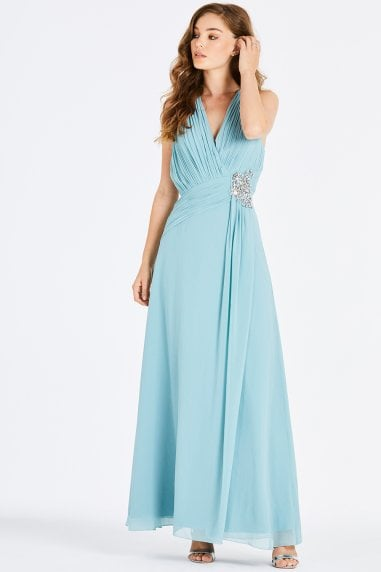 Grece Blue Jewel Waist Maxi Dress