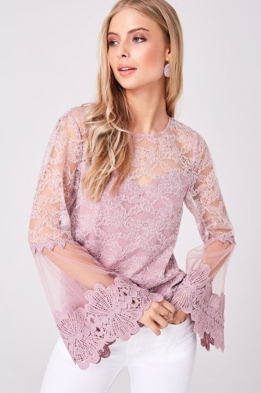 Carnation Dusty Pink Lace Flute Sleeve Top
