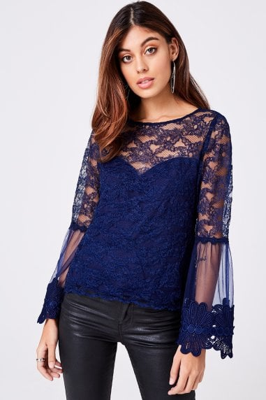 Carnation Navy Lace Flute Sleeve Top