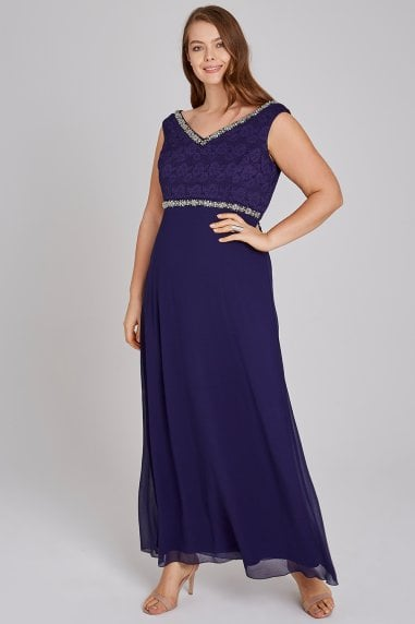 Drew Navy Hand-Embellished Lace Maxi Dress
