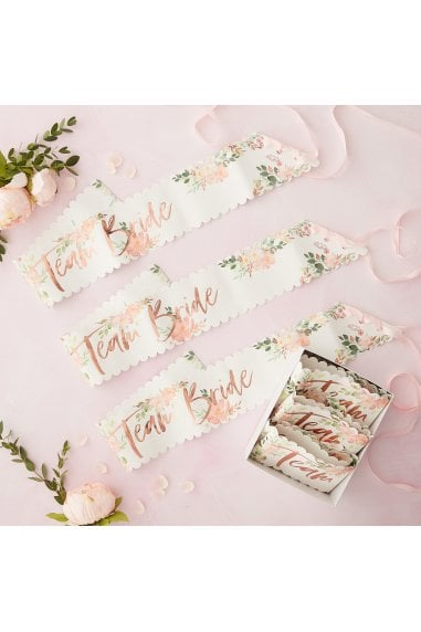 Ginger Ray Floral Team Bride Hen Sashes