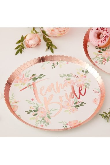 Ginger Ray Floral Team Bride Paper Plates